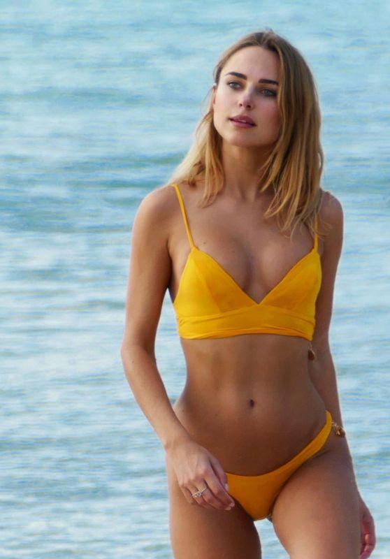 Kimberley Garner in a Yellow Bikini in Caribbean