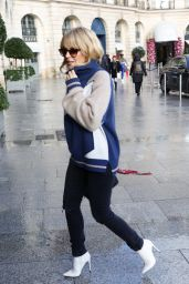 Kylie Minogue Cute Street Style - Leaving the Cafe Flore in Paris