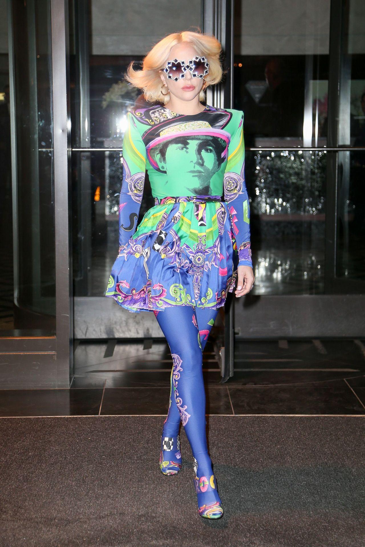 Lady Gaga in a Multicolored Dress