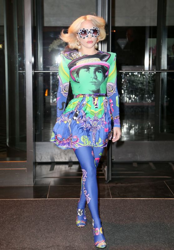 Lady Gaga in a Multicolored Dress - NYC 01/29/2018