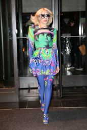 Lady Gaga in a Multicolored Dress - NYC 01/29/2018