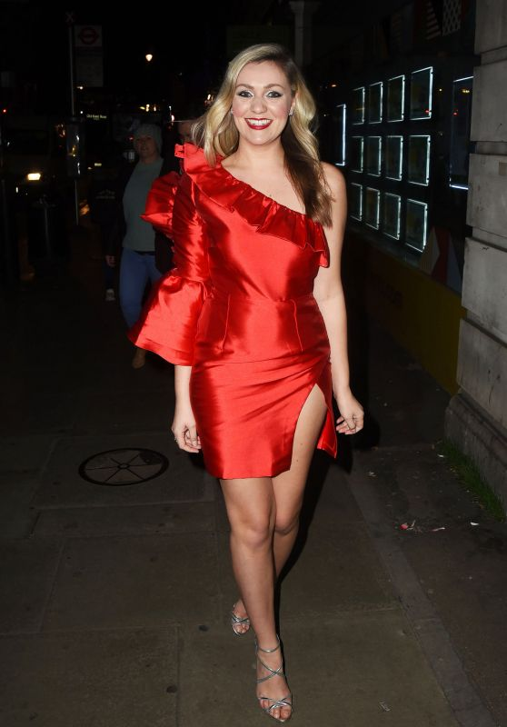 Larissa Eddie in a Red Mini Dress at Hello Love Robinsons Event in London