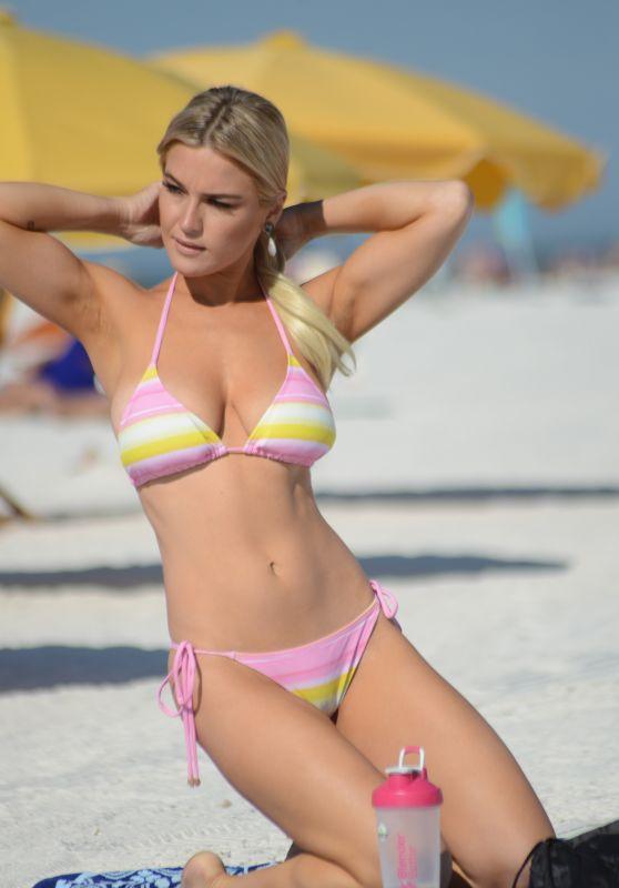 Lauren Hubbard in a Multi Colored Bikini on the Beach in Miami