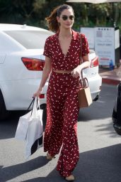 Lily Aldridge in a Red Dress - Shopping in West Hollywood 01/24/2018