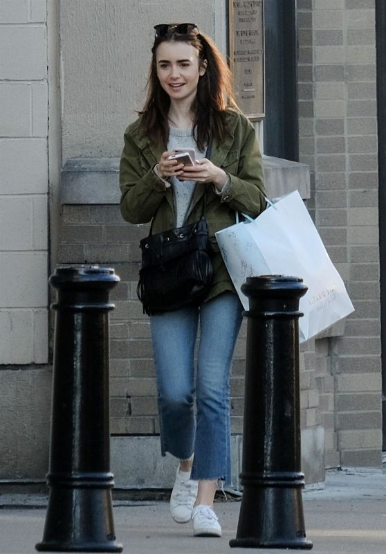 Lily Collins - Shopping On Her Day Off From Filming in Cincinnati 01/29/2018