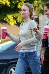 Lily-Rose Depp in Sweater and Jeans at Pinches Tacos in West Hollywood