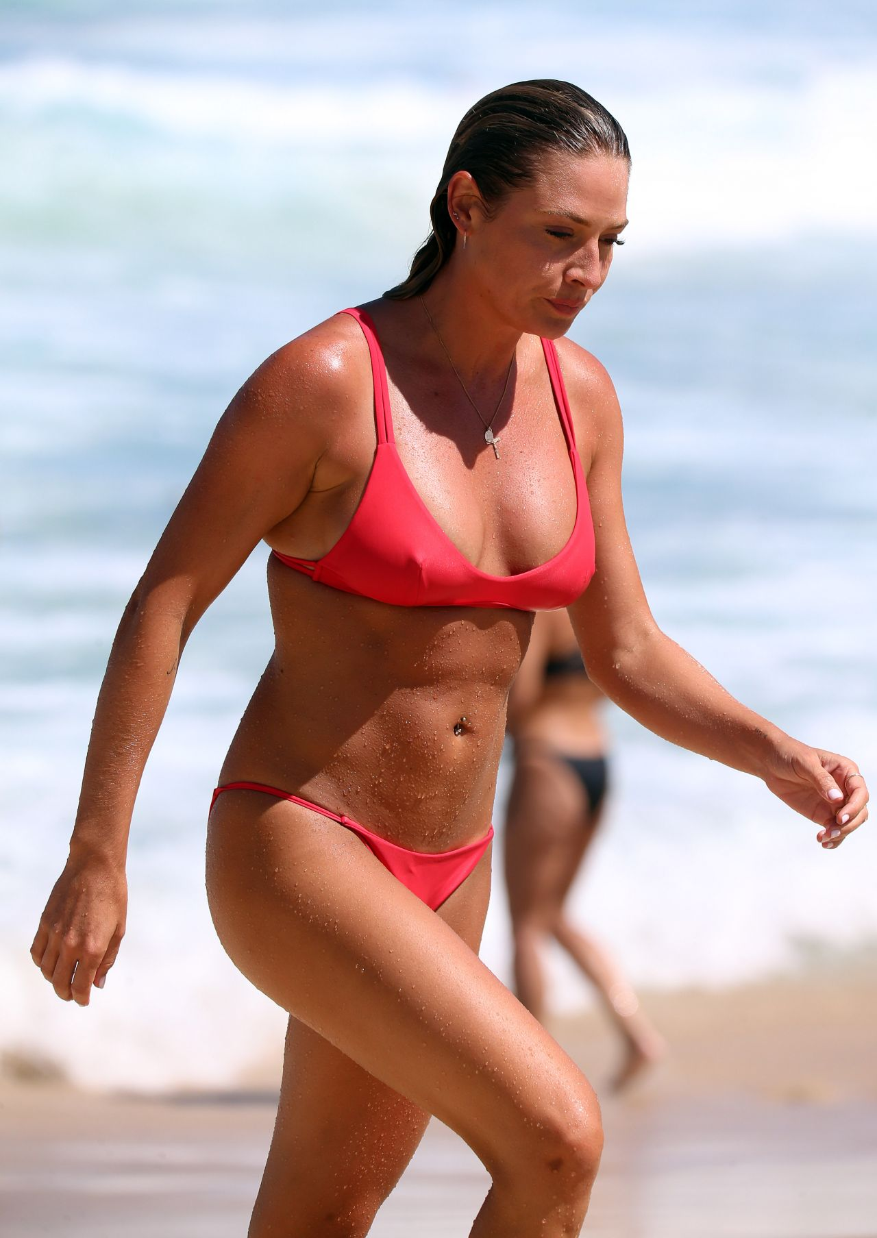 Lisa Clarke in Red Bikini at the beach in Sydney Pic 9 of 35