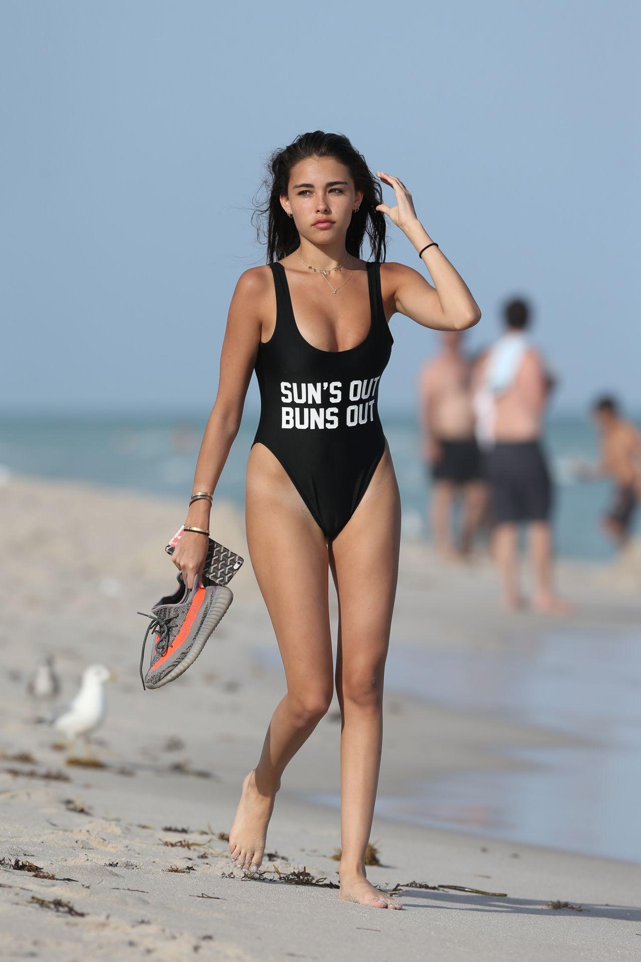 Madison Beer In Black Bikini In Miami