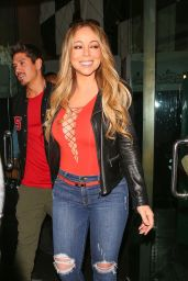 Mariah Carey in Red Lace Up Bodysuit and Jeans in Beverly Hills