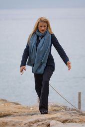 Michelle Hunziker - Walk by the Sea in Sanremo, Italy 01/31/2018