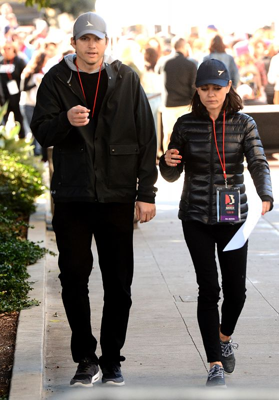 Mila Kunis and Ashton Kutcher – 2018 Women's March in LA
