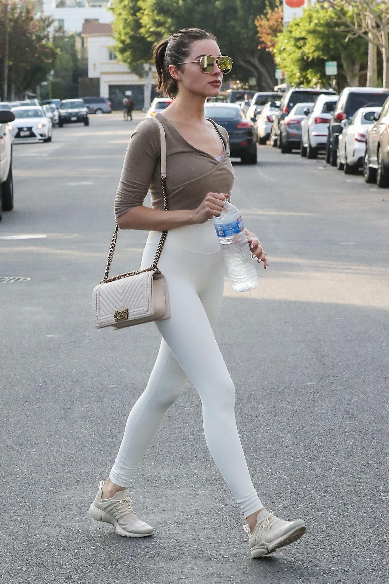 Olivia Culpo in a Small Top and Skin Tight Leggings