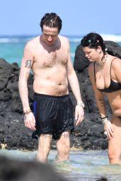 Pixie Geldof in Skimpy Black Bikini on the Beach in Mauritius