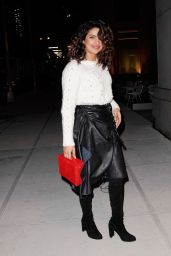 Priyanka Chopra in a Leather Skirt and a White Sweater Out in New York