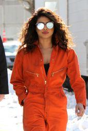 Priyanka Chopra in an Orange Jumpsuit on the Set of Quantico