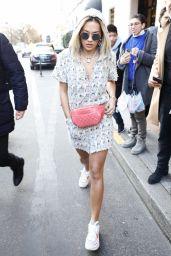 Rita Ora Cute Street Style - Leaving Her Hotel in Paris 01/23/2018