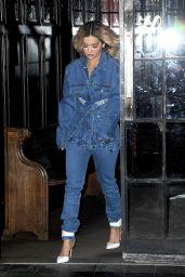 Rita Ora in Double Denim Outfitout - New York 01/30/2018