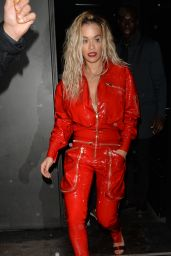 Rita Ora in Red Ensemble - Leaving Her Private Gig in Paris 01/21/2018