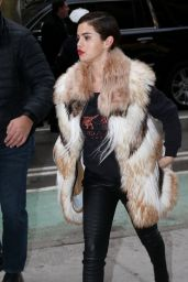 Selena Gomez in a Big Fur Coat and Red Lipstick - Heads to a Recording Studio in NYC
