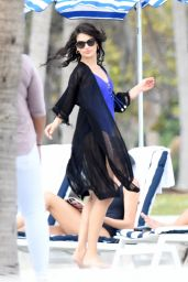 Shanina Shaik in a Blue Swimsuit - Photoshoot in Key Biscayne
