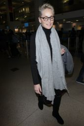 Sharon Stone in Travel Outfit Arriving at LAX Airport