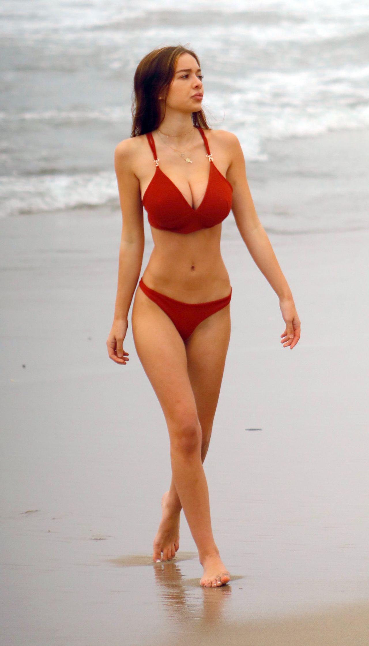 Sophie Mudd in Red Bikini on the beach in Malibu