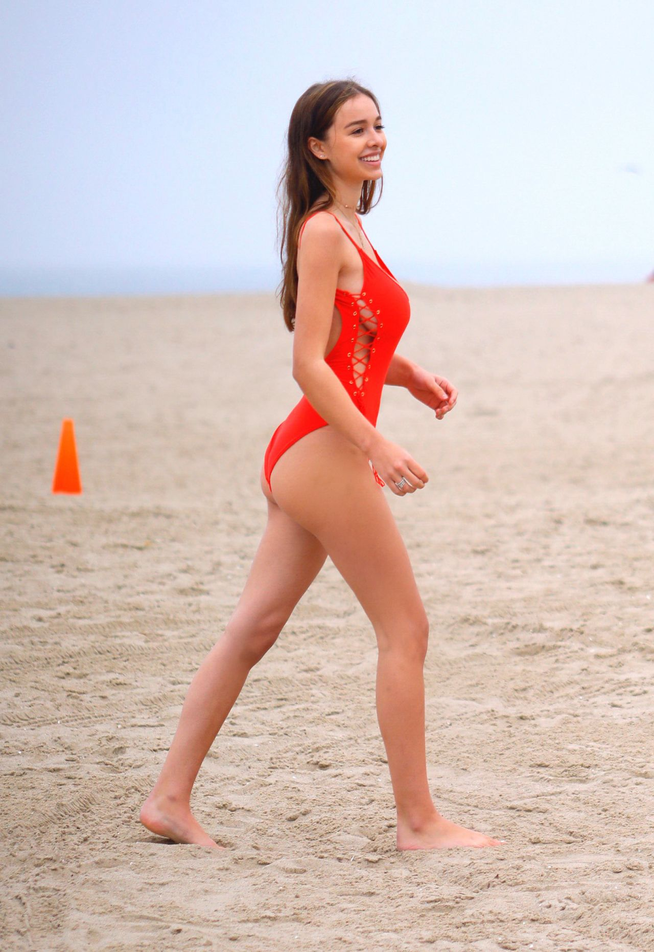 Sophie Mudd in Red Swimsuit in Venice 2018