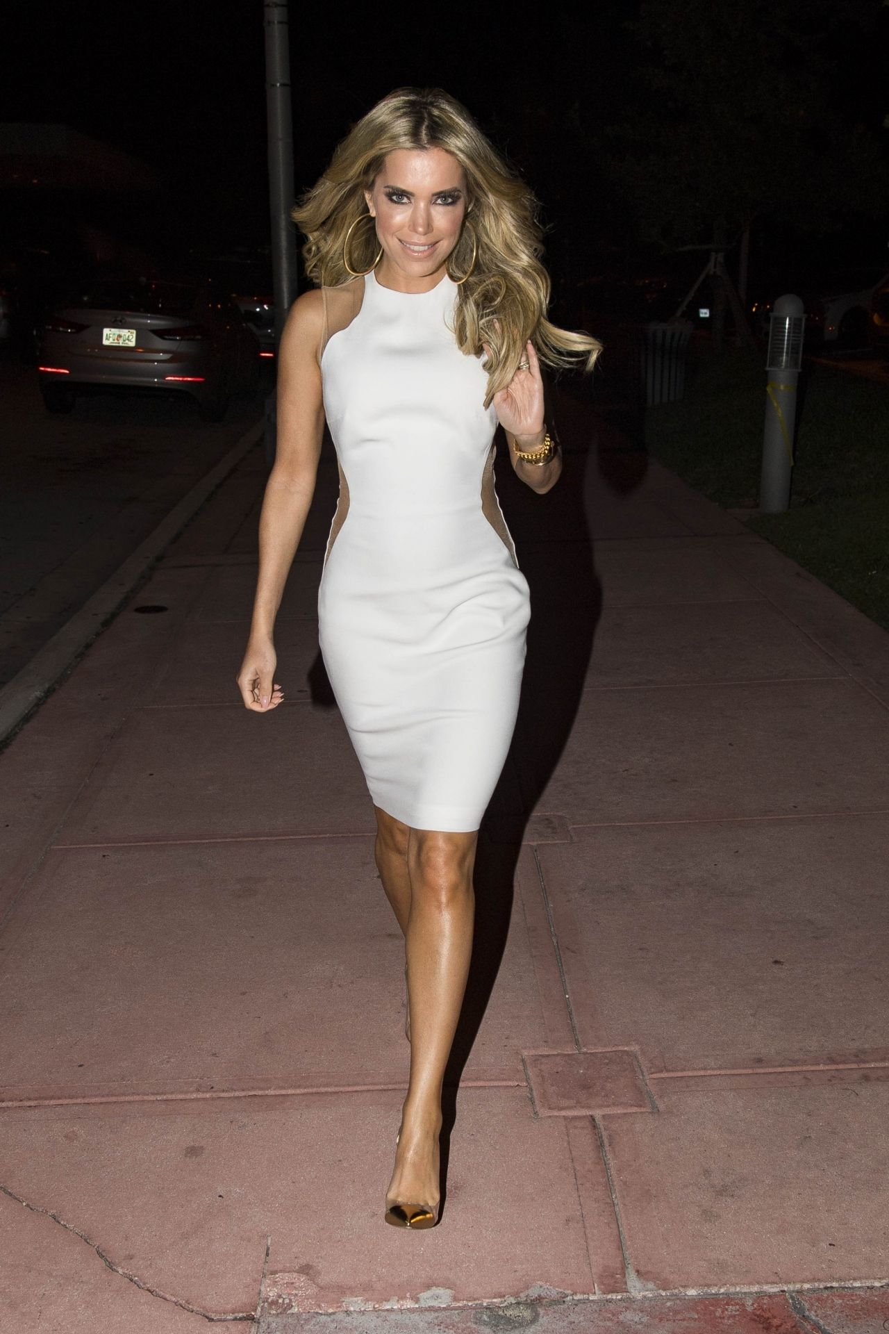 Sylvie Meis In White Dress Night Out In Miami Beach