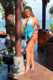 Tyne-Lexy Clarson in a Blue Swimsuit in Thailand