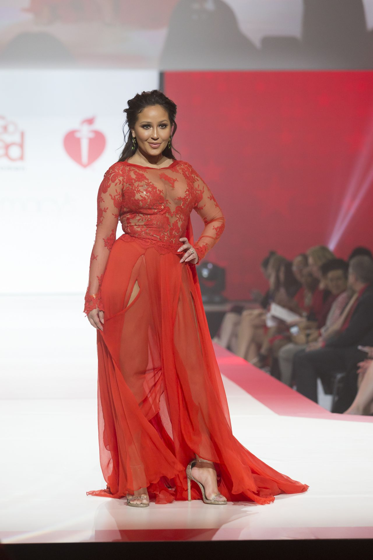 Fashion In Usa 2016: Adrienne Bailon Walks Runway For Red Dress 2018 Collection