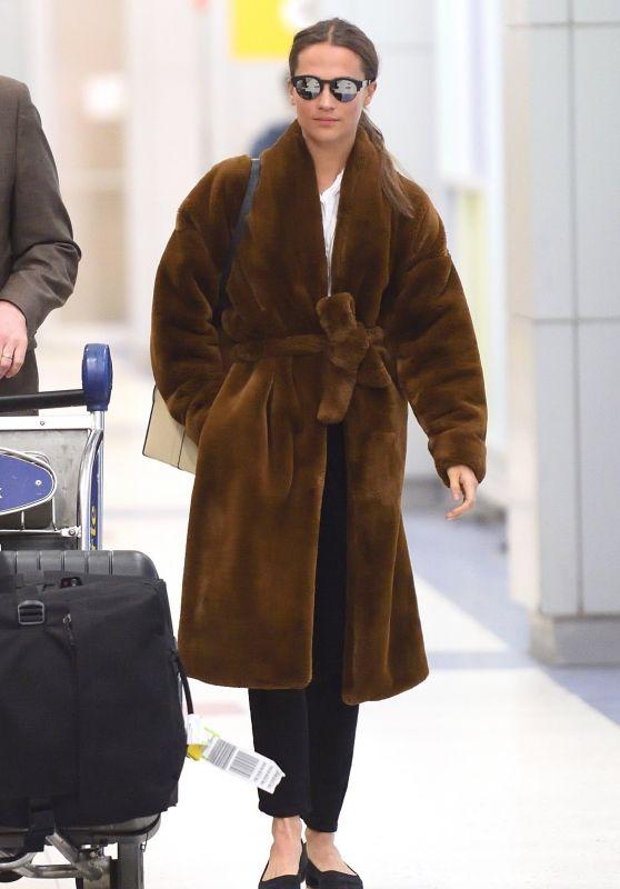 Alicia Vikander - JFK Airport in NYC 02/20/2018