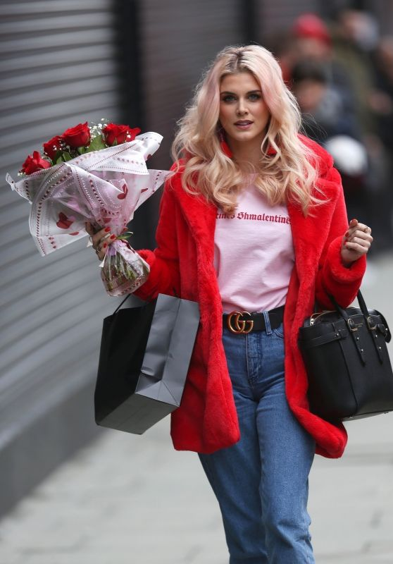 Ashley James With Red Roses on Valentines Day in London