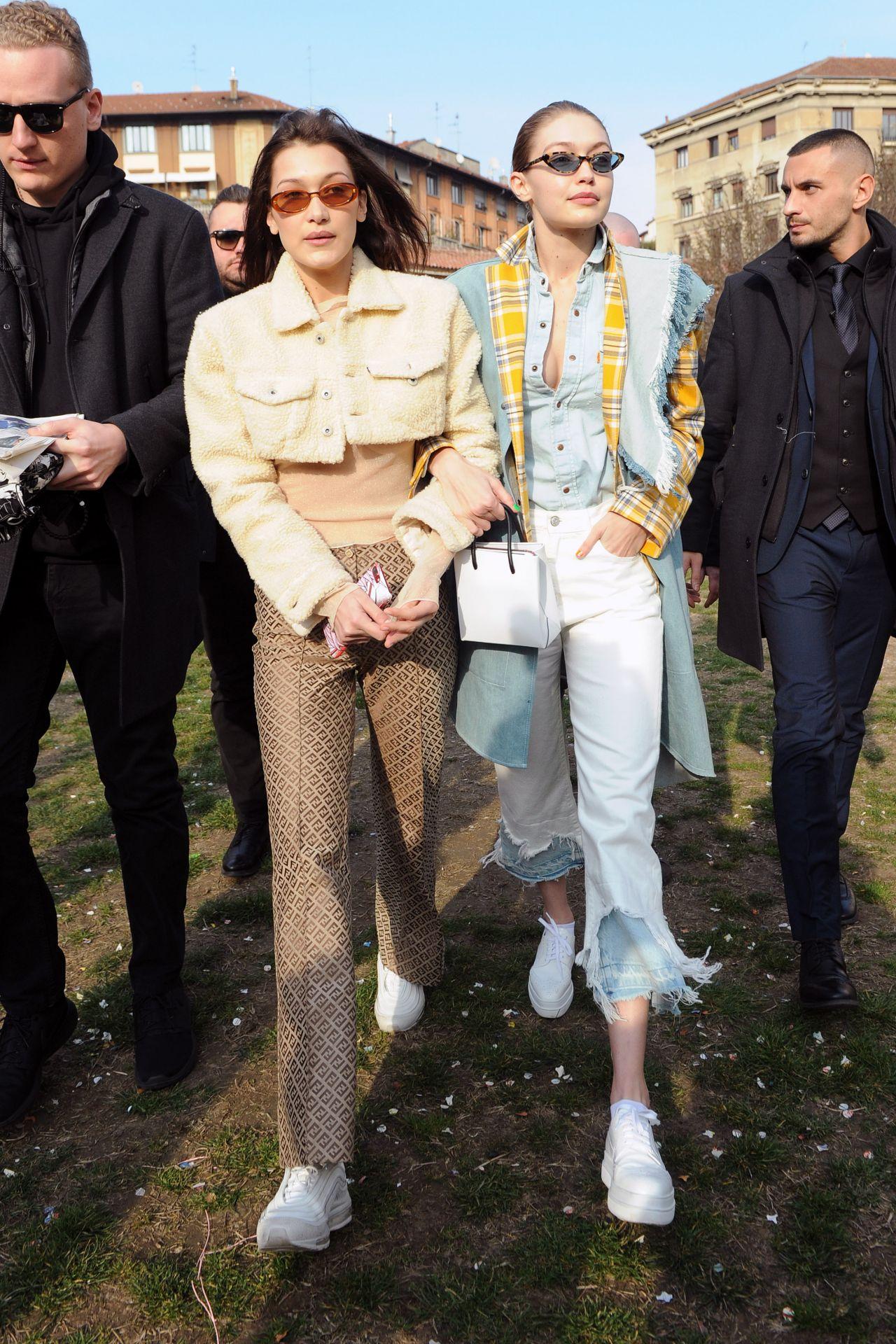 21ba5b0ff0d7 Bella Hadid and Gigi Hadid – Leaving the Moschino Fitting in Preperation  for Milan Fashion Week 02 21 2018