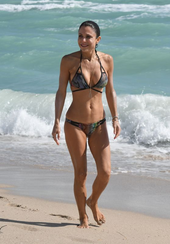 Bethenny Frankel in a Snakeskin Bikini on the Beach in Miami 02/21/2018
