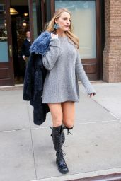 Blake Lively Showing Off Her Long Legs in a Gray Sweater