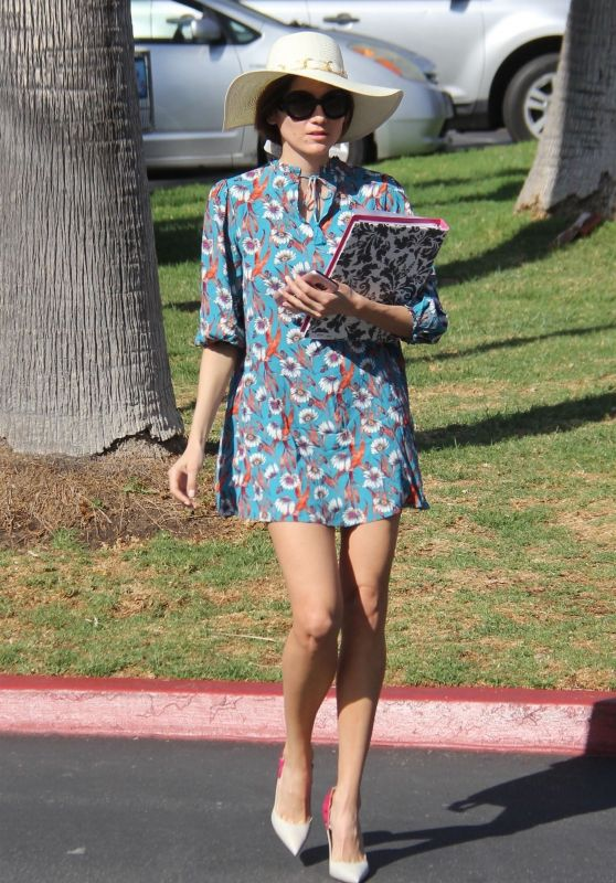 Blanca Blanco in a Blue Floral Print Dress Out in Malibu