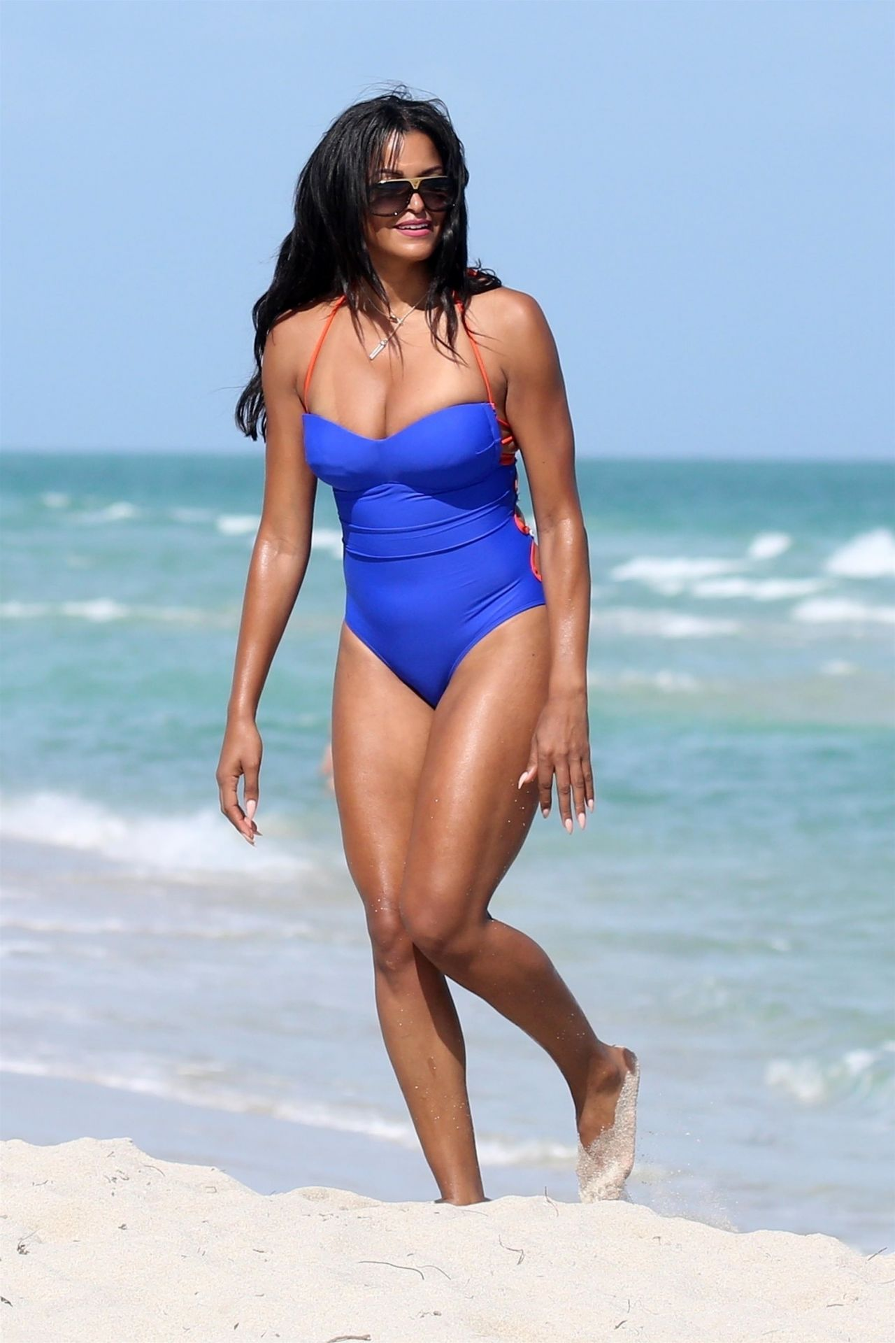 New Miss Universe 2018 >> Claudia Jordan in a Blue Swimsuit on the Beach in Miami