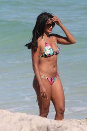 Claudia Jordan in a Colorful String Bikini on the Beach in Miami