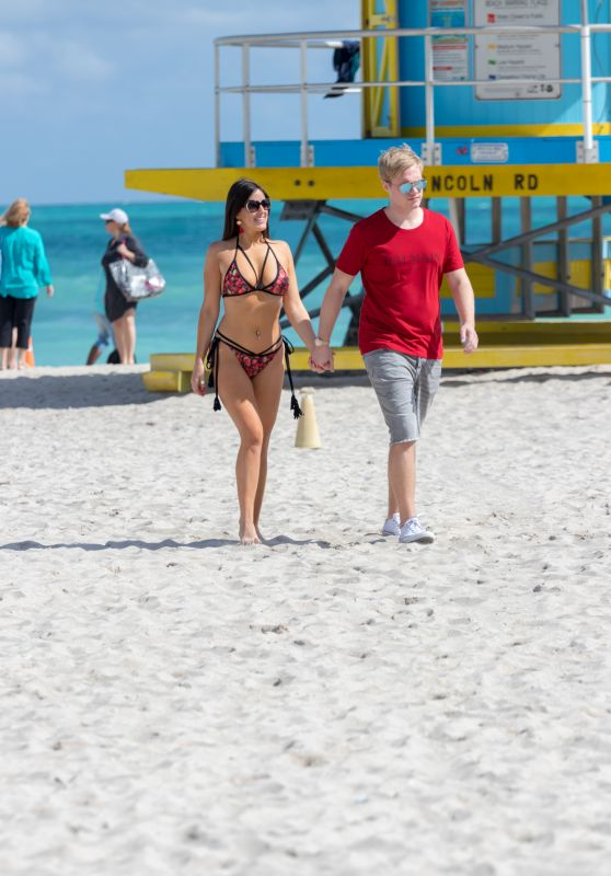 Claudia Romani and Chris Johns on the Beach in Miami 02/07/2018