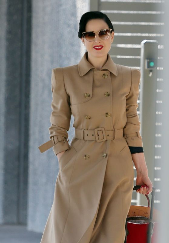 Dita Von Teese in Travel Outfit - Departing Perth Airport