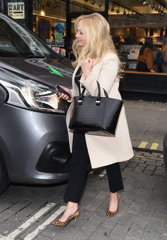 Emma Bunton in a Winter Coat and Cheetah Print Heels at Capital FM in London 02/21/2018