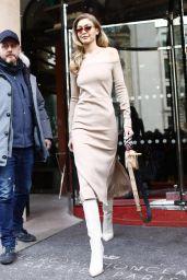 Gigi Hadid Style - Leaving Le Royal Monceau Hotel in Paris 02/27/2018