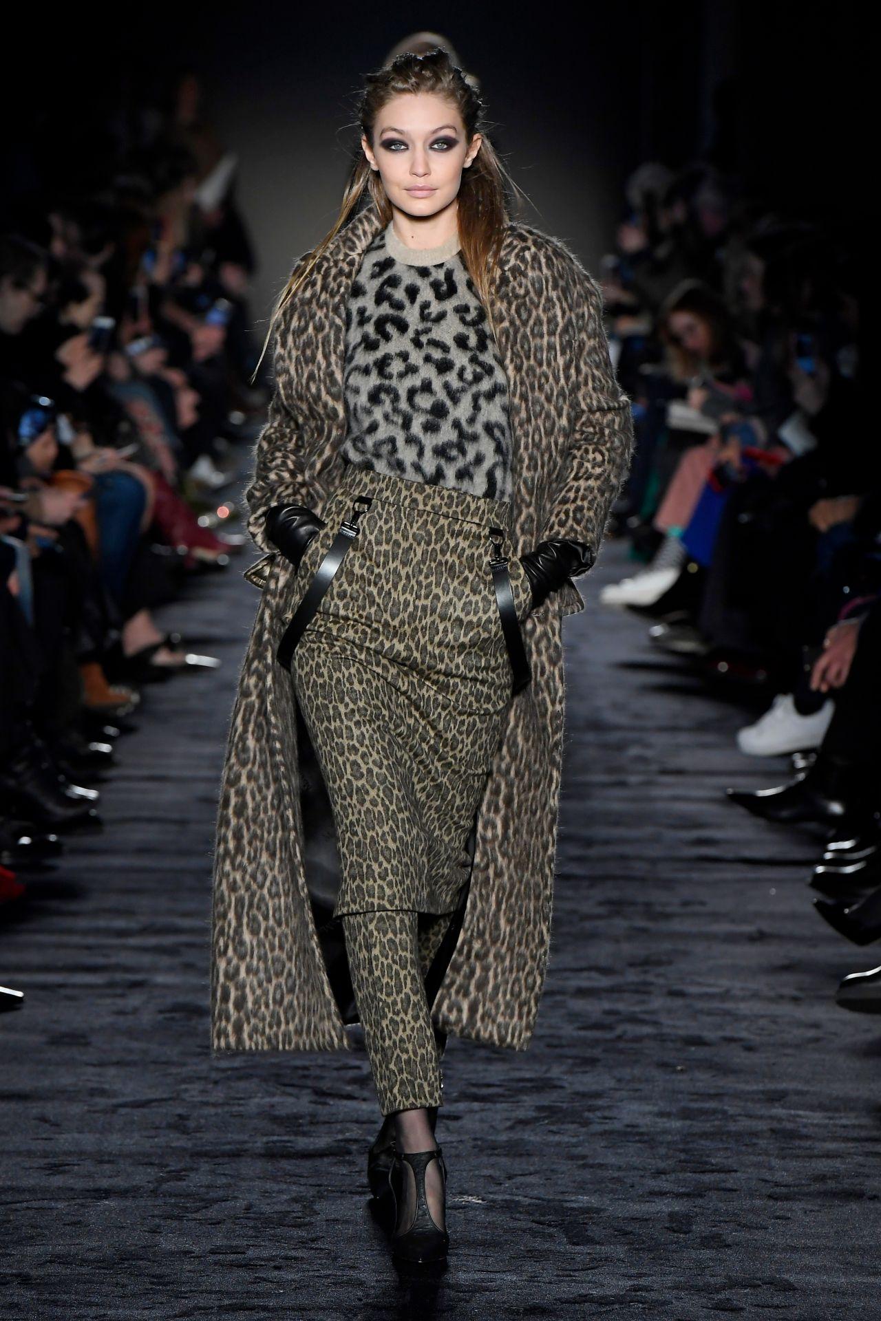 Gigi hadid supermodel runway walk at milan fashion week fendi show