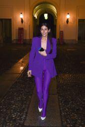Gilda Ambrosio – Arrive at Versace Fashion Show in Milan 02/23/2018