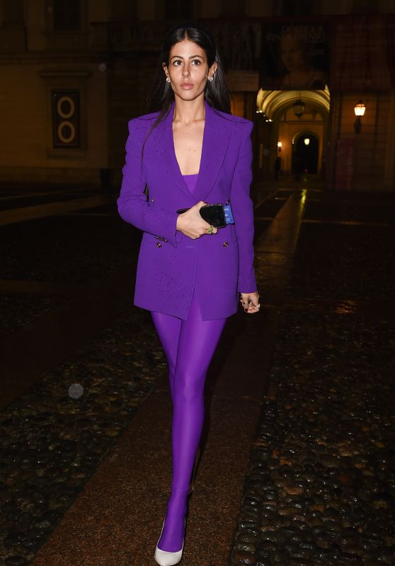 Gilda Ambrosio – Arrive at Versace Fashion Show in Milan 02/23/2018