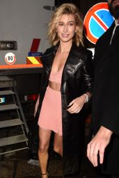Hailey Baldwin Leggy in Mini Skirt - Leaves at ADR Party in Milan
