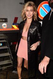 Hailey Baldwin Leggy in Mini Skirt - Leaves at ADR Party in Milan