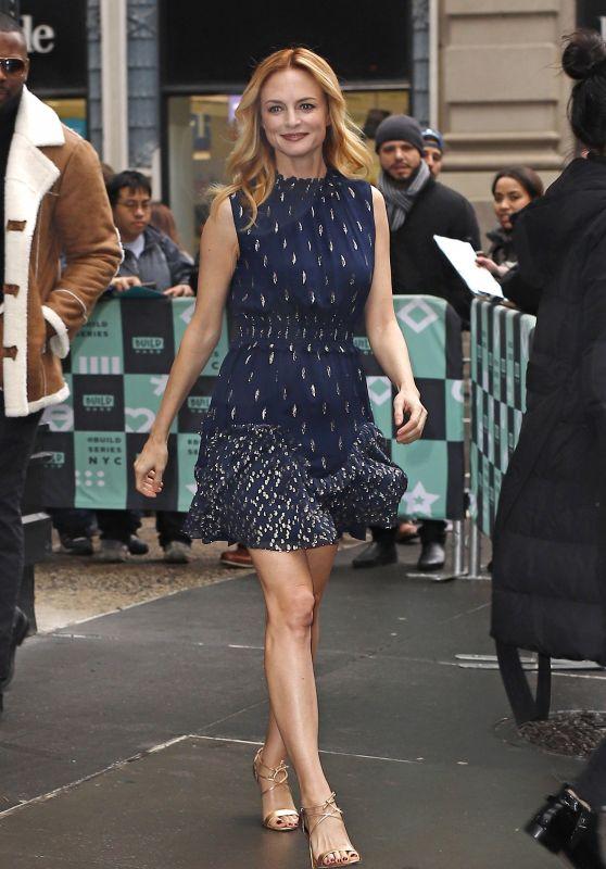Heather Graham in Mini Dress at BUILD Series in Manhattan 02/23/2018