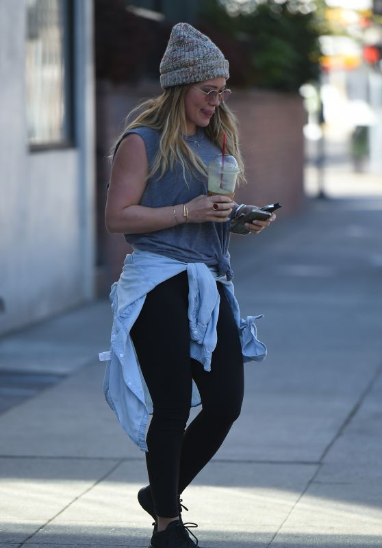 Hilary Duff in a Stocking Cap Out in Los Angeles 02/07/2018