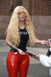 Iggy Azalea in Skintight Red PVC Trousers at Z100 Studio in NYC